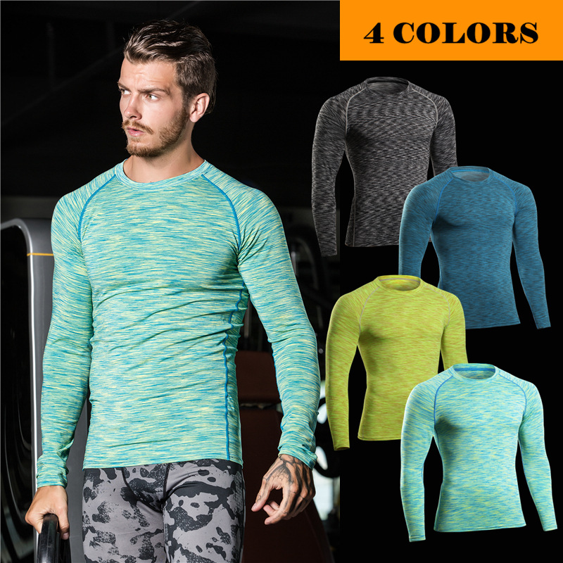 Mens gym wear long Sleeve Breathable Sports Compression Clothing