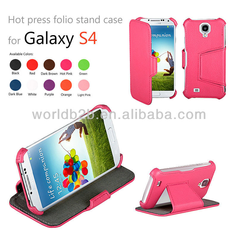 Nice Leather Cell Phone Case with Multi Angle Stand for Samsung Galaxy S4 SIV I9500, inside with Microfiber