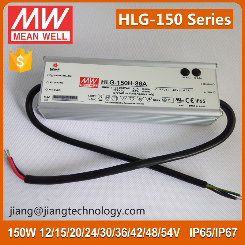 42V 150W 3.6A Meanwell HLG-150H-42D Waterproof Dimmable Constant Voltage Electronic LED Driver