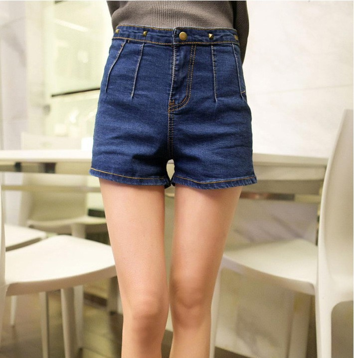 C85615A Cheap wholesale women cargo shorts denim blue fashion denim shorts