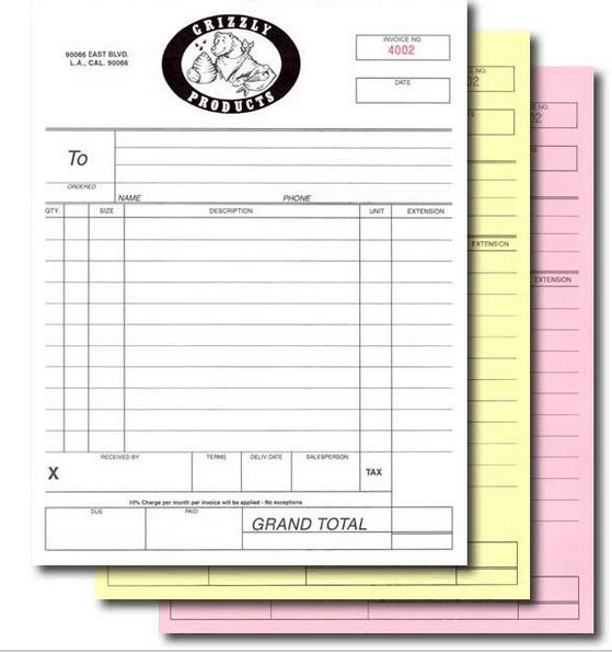 custom triplicate carbonless invoice book sales receipt note docket