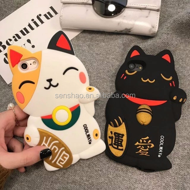 The Best Selling Three - Dimensional Design Cartoon Cute Lucky Cat Silicone Case Protective Cover For Iphone6/7