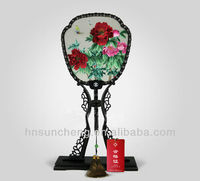 Peony-double-faced embroidery 100% Handmade Silk Xiang Embroidery fans
