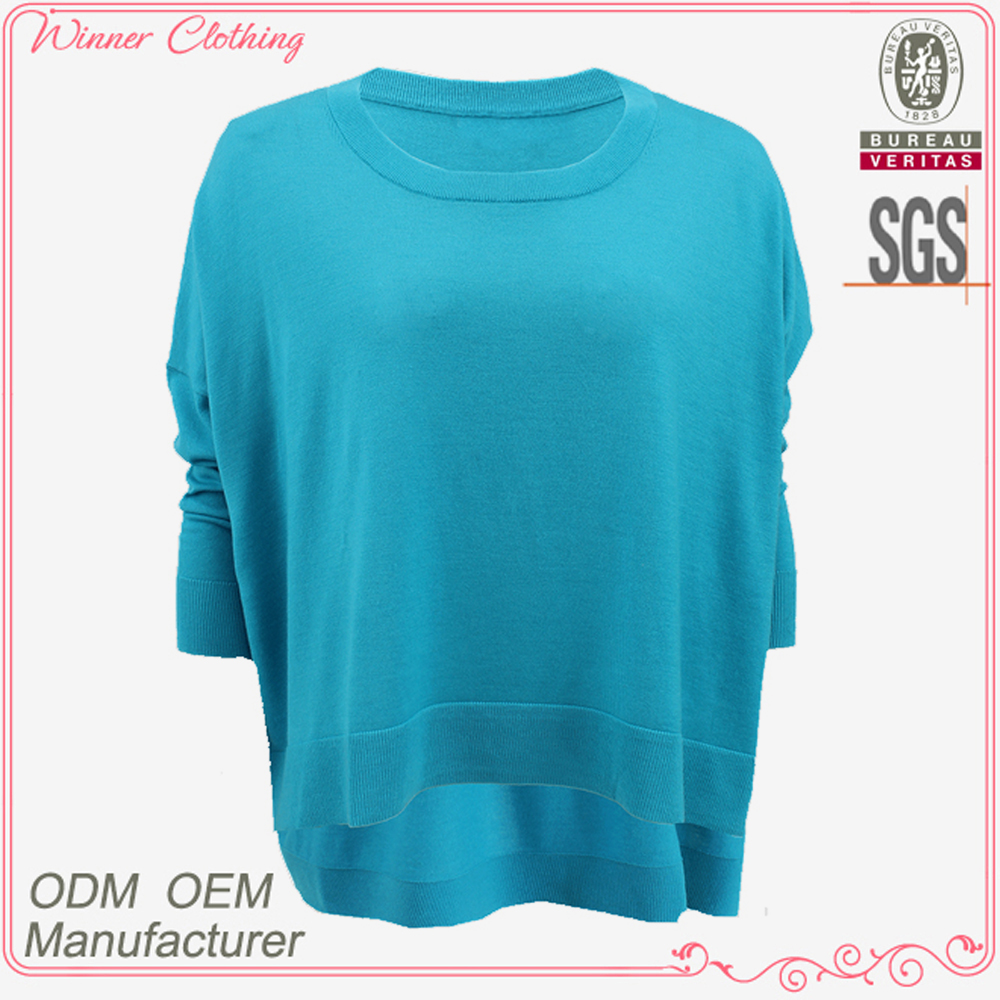 Rib collar knit 2015 high quality fashion garment manufacturer ladies tops and blouses