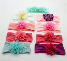 Factory designer wholesale korean stretch soft textile baby headband flower toddler infant headbands