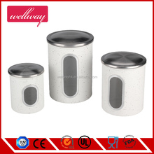 3 Pc Red Stainless Steel Glass Front Tea Coffee Sugar Jar Canisters Set