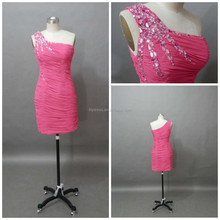 Sheath Crystal One Shoulder Above Knee Pink Customized Mini Cocktail Dresses CD074 Pleated Chiffon Dress