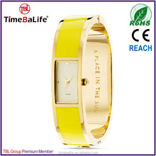2014 fresh japan quartz movement stainless steel back gold bezel yellow enamel band open bangle watches for women