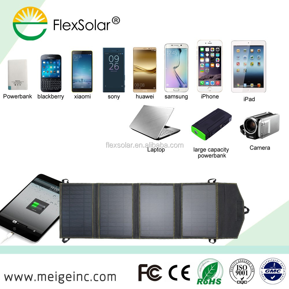 Portable Solar Charger 14W For Mobile Phone Foldable USB Solar Charger Bag