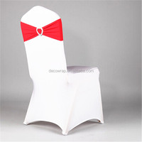 new style spandex/nylon white wedding chair cover with plastic buckle chair band