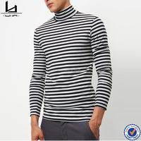 Men's fashion cool t-shirt white stripe turtle neck custom t shirt long sleeves wholesale blank t shirts for promotion