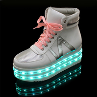 china brand high top two LED light casual shoes for women best quality, hot sell women LED shoes light flash fashion new style
