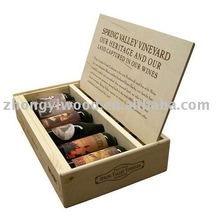 natural classical design wood red wine case for 6bottle
