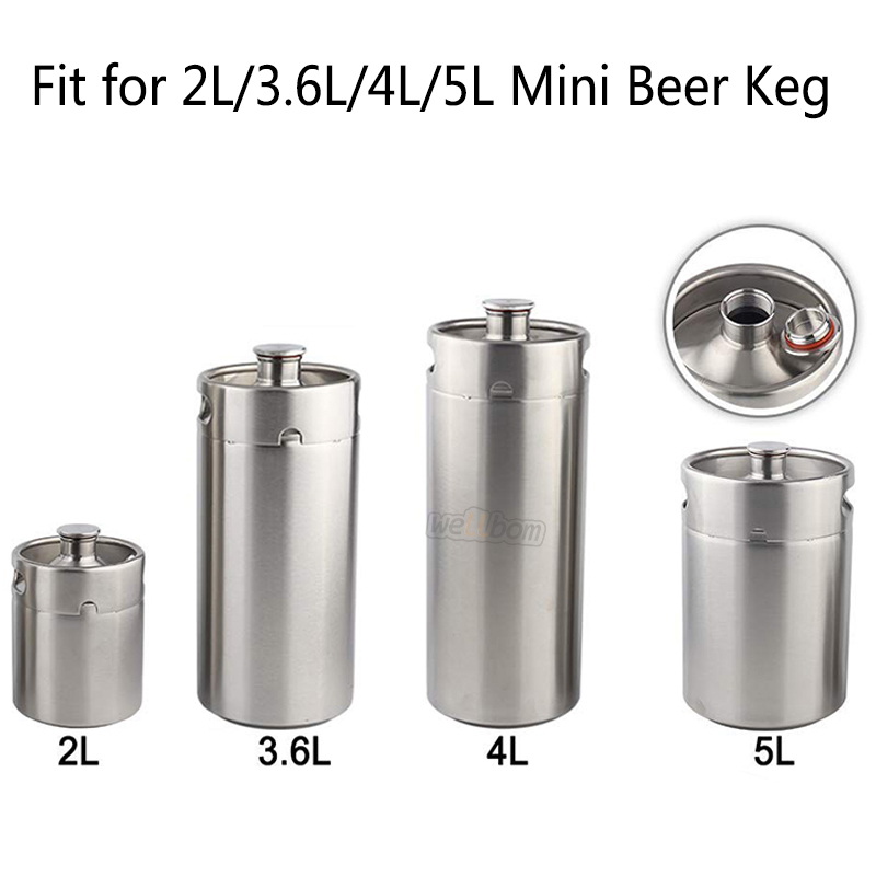 Stainless Steel 304 Mini Keg Tap Dispenser with Adjustable beer tap faucet and Mini CO2 Regulator (0-30psi)