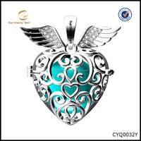 CYQ0032Y Newest Design Angel Wings and Heart mexican bola pendant