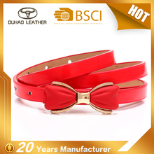 New Arrival Romantic Red Bow Narrow Pu Belt For Lady Dress