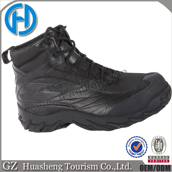 black mens leather wedge military boots