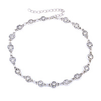 CS00512 JN wholesale Popular hollow hexagonal star choker silver chain simple alloy necklace chokers for women