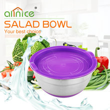 Colorful stainless steel salad fruit bowl mixing bowl with silicon lid/ 7pcs silicon bottom Salad Bowl Sets