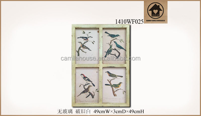 Distressed Fancy Birds Pattern Art Printing Frame