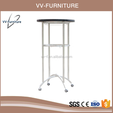 new fashionable glass top high bar table with wheels