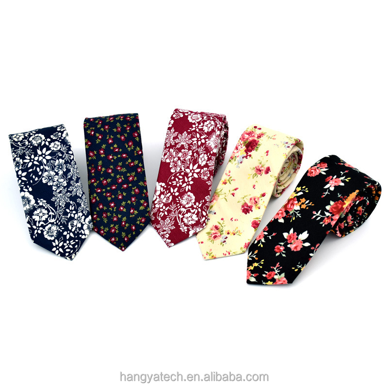 Europe and the United States style fashionable Men's cotton Floral printed south Korean fashion marriage Neck tie
