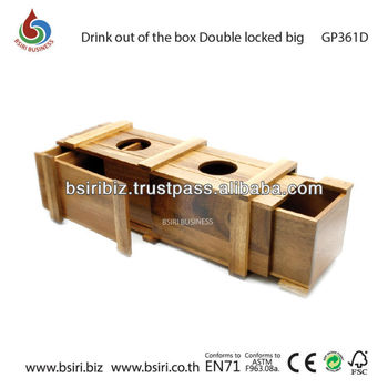 wooden puzzle Drink out of the box Double locked big
