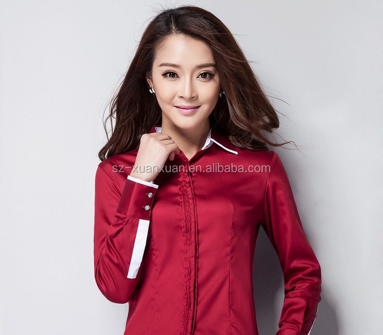 latest blouse in fashion uniform design red women blouse