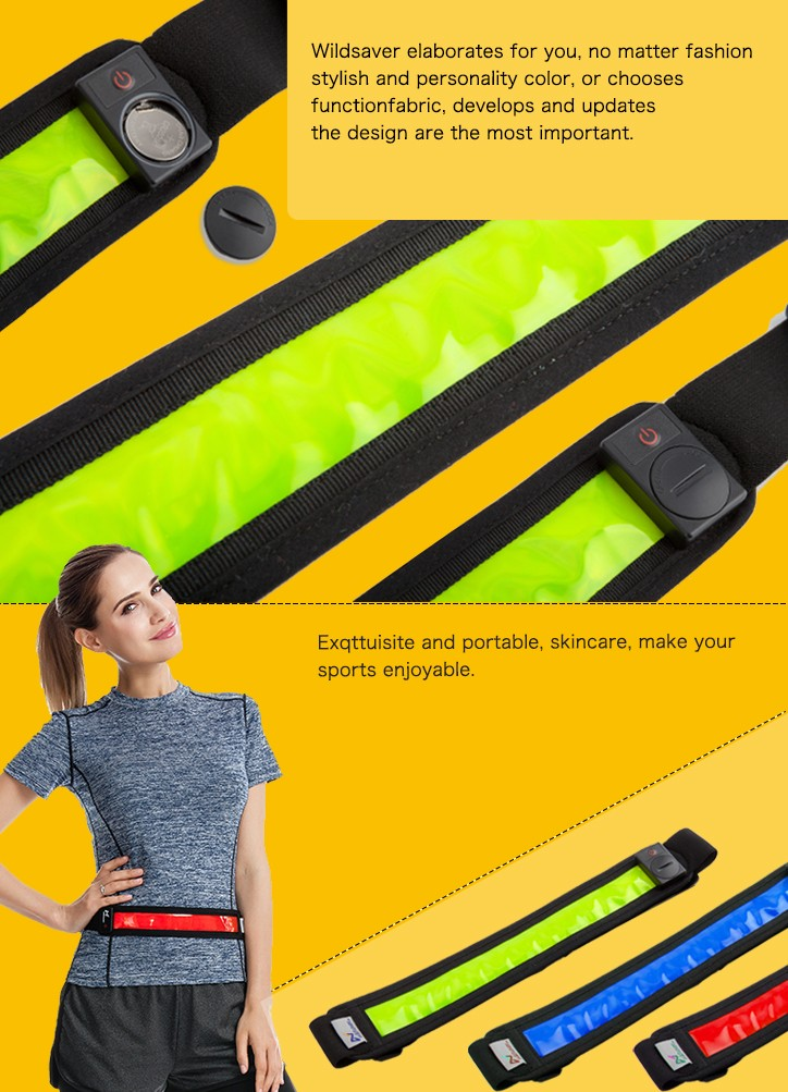 Outdoor Sport running Waist Belt with hi-vis LED lights for Running&night safety