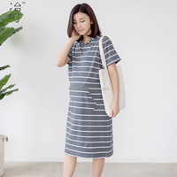 OEM service fashion cotton nursing dress with side opening