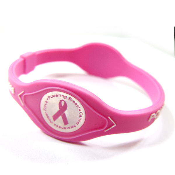 Newest power force bands balance bracelet of Breast cancer silicone bracelet