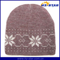 HZM-13686-2 ski knitting pattern teenagers red wool snowflake beanie hat