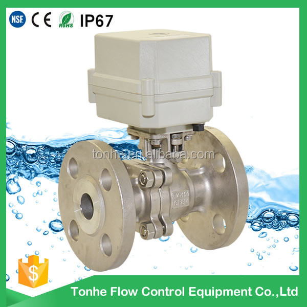 "OEM 2 way 1/2""inch SS304 flange type connection electric motorized ball valve"