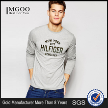 Apperal Factory Price Long Sleeve T-Shirt With New York Print In Grey Wholesale Plain Men's Knitted Longline Clothing