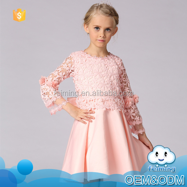 Girls autumn fashion dress design new model girls lace pink flower frocks baby dress cutting