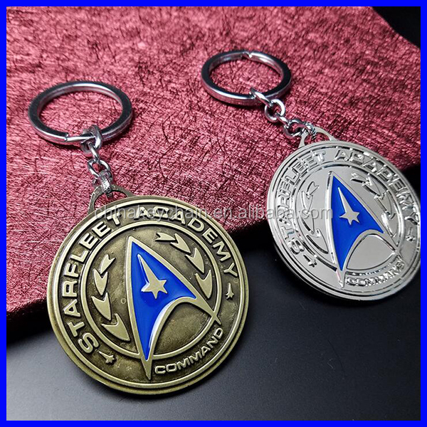Movie Star Trek keychain quality alloy plating metal key chain 2 colors for promotion