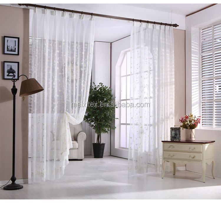 Elegant Fashion Natural Linen Embroidery Curtains/Draperies for Living Room