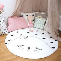 90*90cm cotton baby crawling pad ,round shape child play game mat, baby gym mat, cartoon kids room floor developing carpet toys