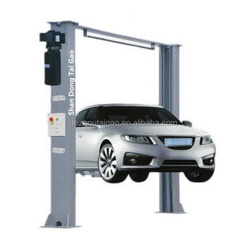 Double hydraulic cylinder and high strength chain Launch Luxurious Floor Plate Two Post Lift 5Ton car lifts