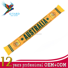 Hot sell customized 100% polyester Australia football team 2018 russia world cup scarf