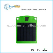 Sun power outdoor solar charger OS-OP041A charging the phone in the outdoors without electric supply OS-OP041A