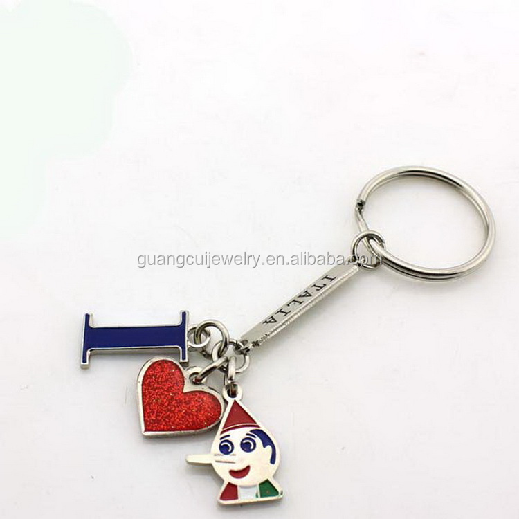 Italia tourism souvenir metal enamel red heart long nose boy key ring keychain