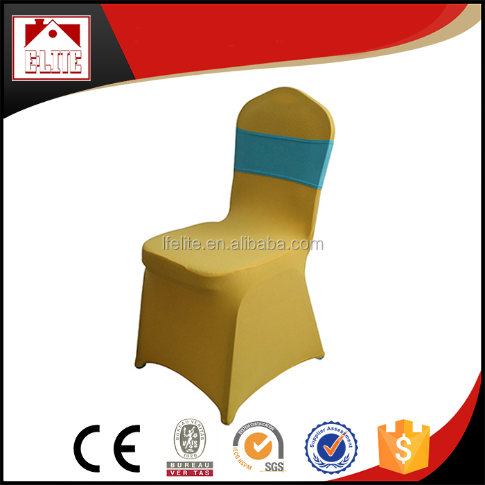 Universal spandex chair cover cheap with satin ribbons