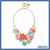 importing elegant fine necklaces jewelry from China ,Latest Europe most fashionable enamel flower necklaces for girls