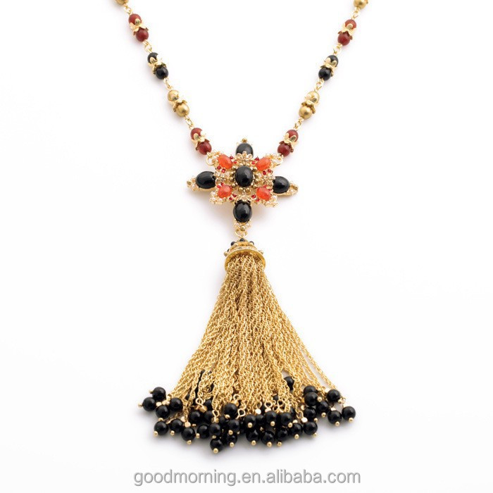 2015 Brand Fashion Trending CR Designs Black Beads Tassel Cross Pendant Long Chain Pendant Necklace N2396