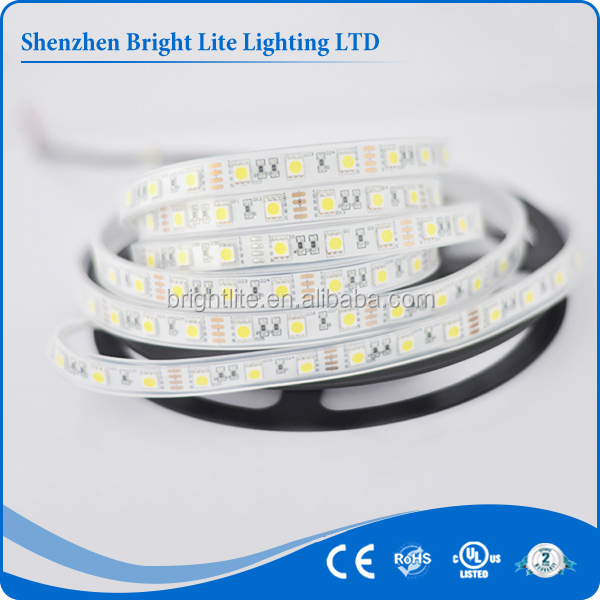 DC12V DC24V SMD5050 IP66 Yellow color 60led flexible led strip waterproof