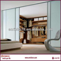 Popular flat pack MDF board sliding door wardrobe for overseas customer and project