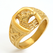 Marlary Gold Plated Punk Jewelry Ring Hiphop Stainless Steel Men's Horse Head Ring