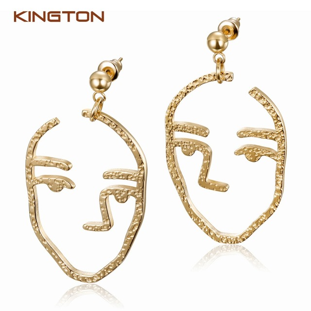 2018 Wholesale hollow face Earrings Gold Plated Drop Earring Designs jewelry for ladies Made In China