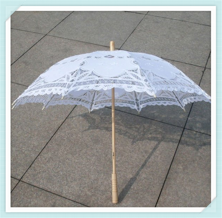 Wholesaler embroidered cotton lace sun umbrella vintage style wedding bridal party decoration umbrella handmadle lace parasol